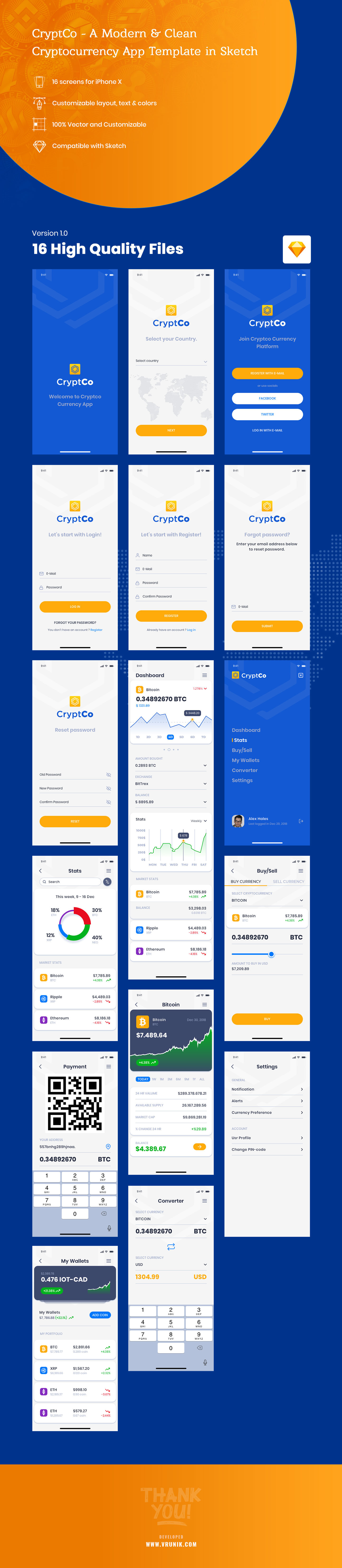CryptCo - A Modern & Clean Cryptocurrency App Template in Sketch - 1